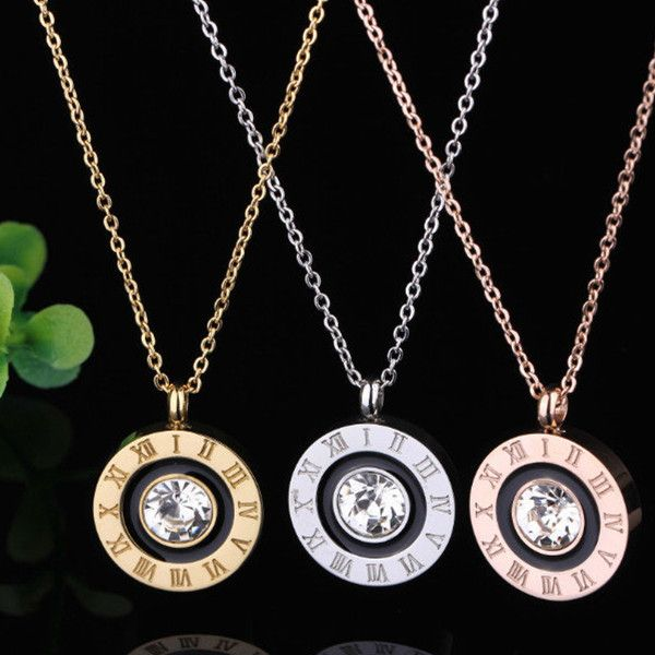 Silvergoldrose Plated Rome Digital Love Necklace Round Bv Black