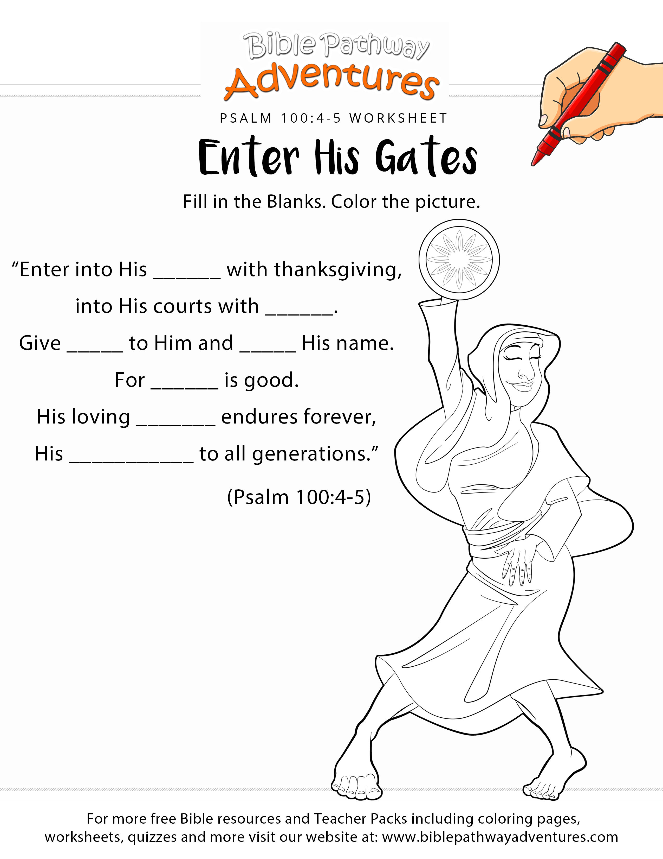 Psalm 100 Worksheet And Coloring Page Bible Worksheets Books Of The Bible Psalms [ 3300 x 2550 Pixel ]