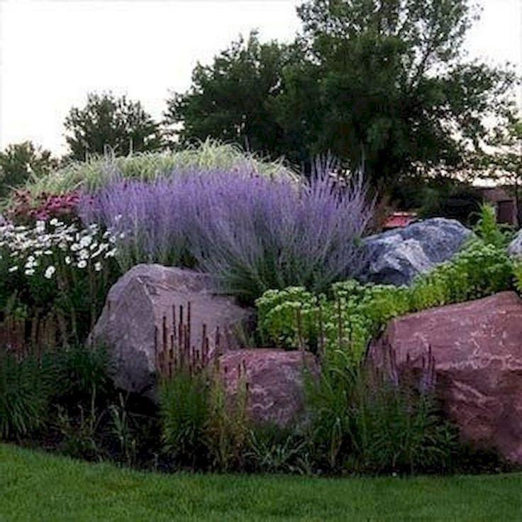 73+ Beautiful Front Yard Rock Garden Landscaping Ideas #steingartenideen