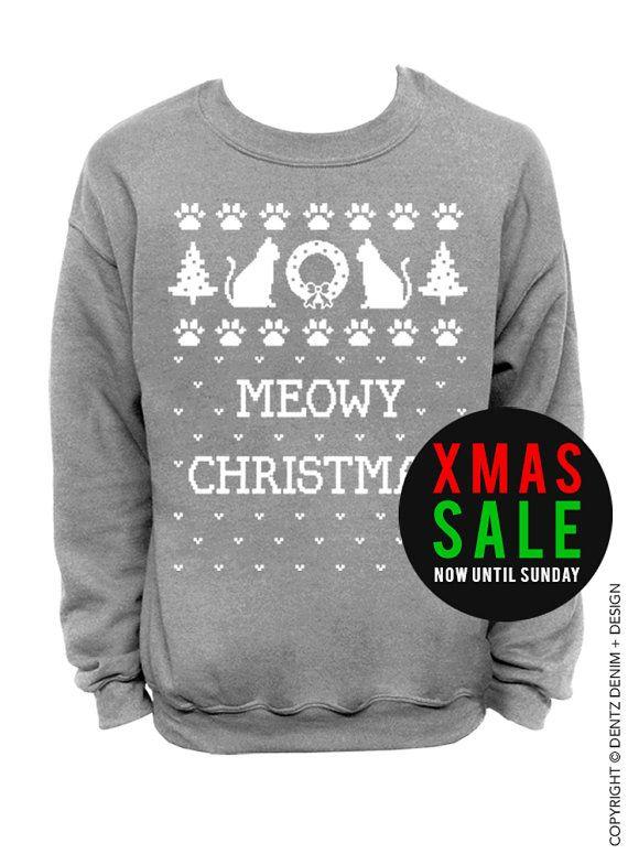 Meowy Christmas - Unisex Ugly Christmas Sweatshirt TlufyIUp