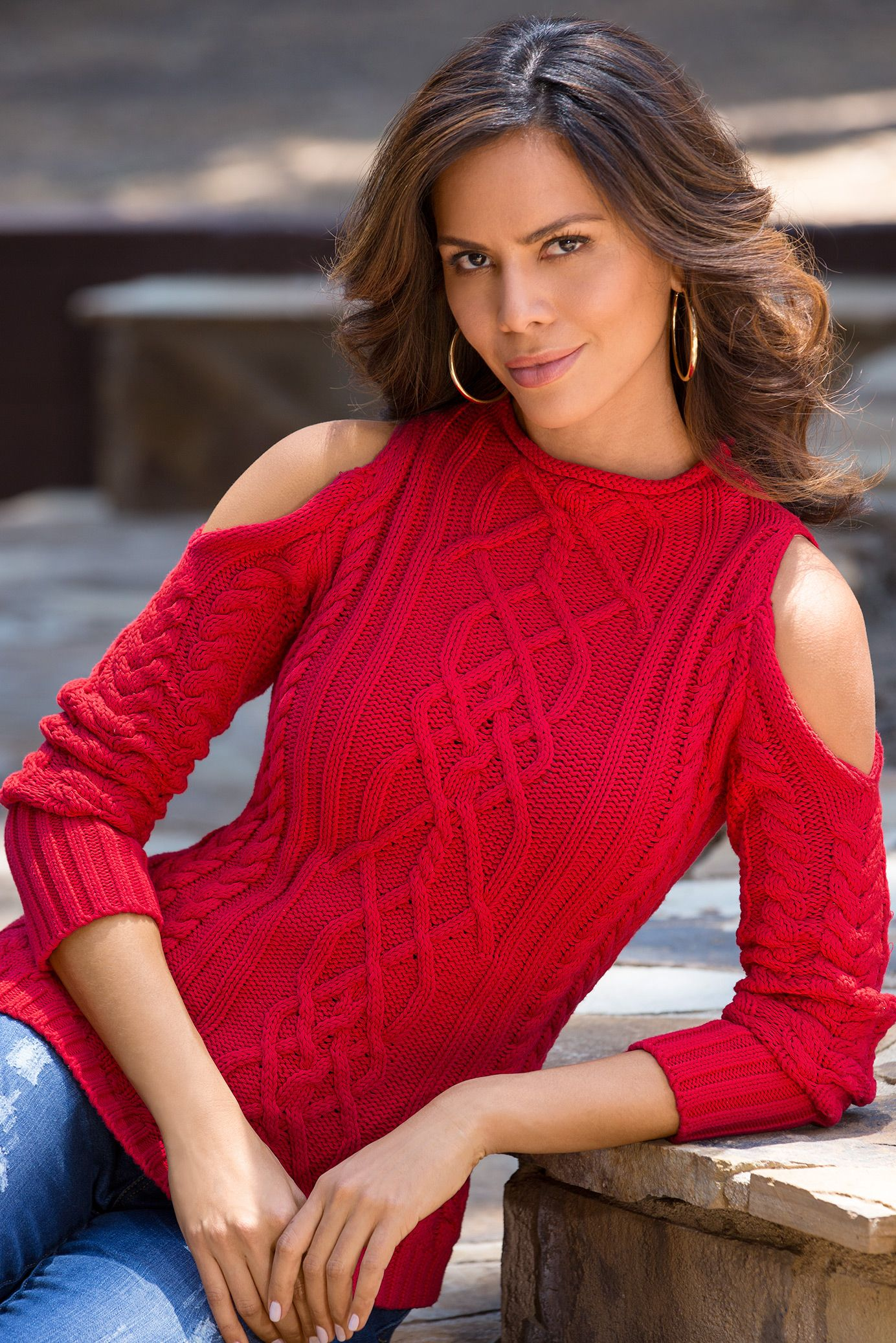 43f04ff7ba9 Chunky cable knit sweater with sexy shoulder cutouts. | Red Hot in ...
