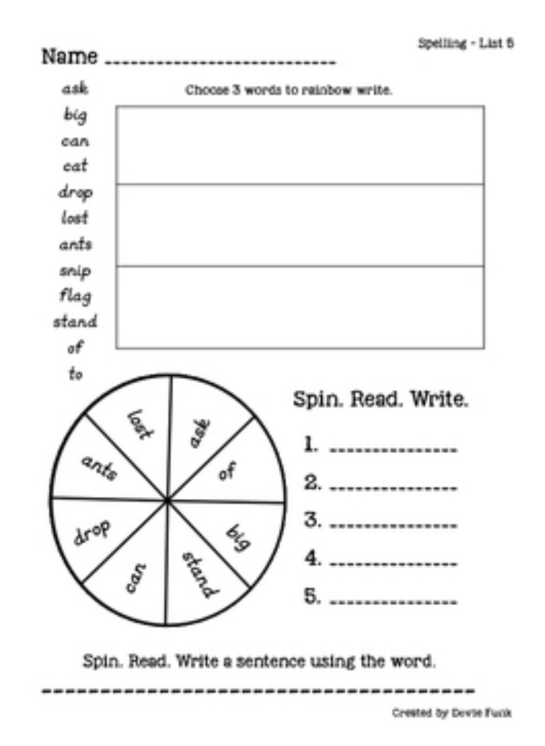First Grade Spelling Weekly Word Work Pages Works Well With Saxon Spelling Word Work Practice First Grade Spelling Word Work