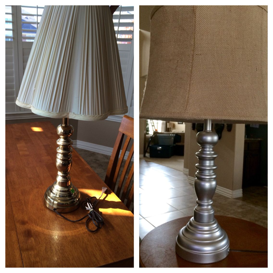 Before and after. Revamp a lamp. Goodwill find. A little paint and new lampshades and they are a perfect fit for family room