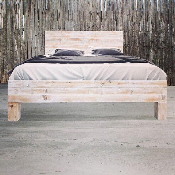 Rustic Beach Wood Whitewashed Barn Wood Style Headboard
