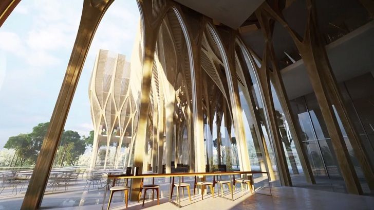 Zaha Hadid S Sleuk Rith Institute Sprouts Like A Forest In Cambodia 현대 건축 건물 영감