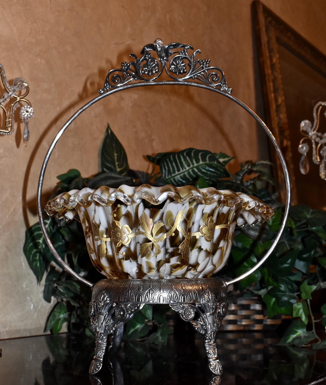 Brides Basketcenterpiece Large Rare Victorian Art Glass Amber Tortoiseshellspatter Brides