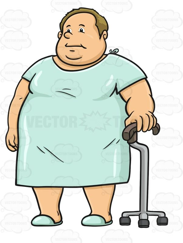 Overweight Man Wearing A Hospital Gown And Using A Cane | Pinterest ...