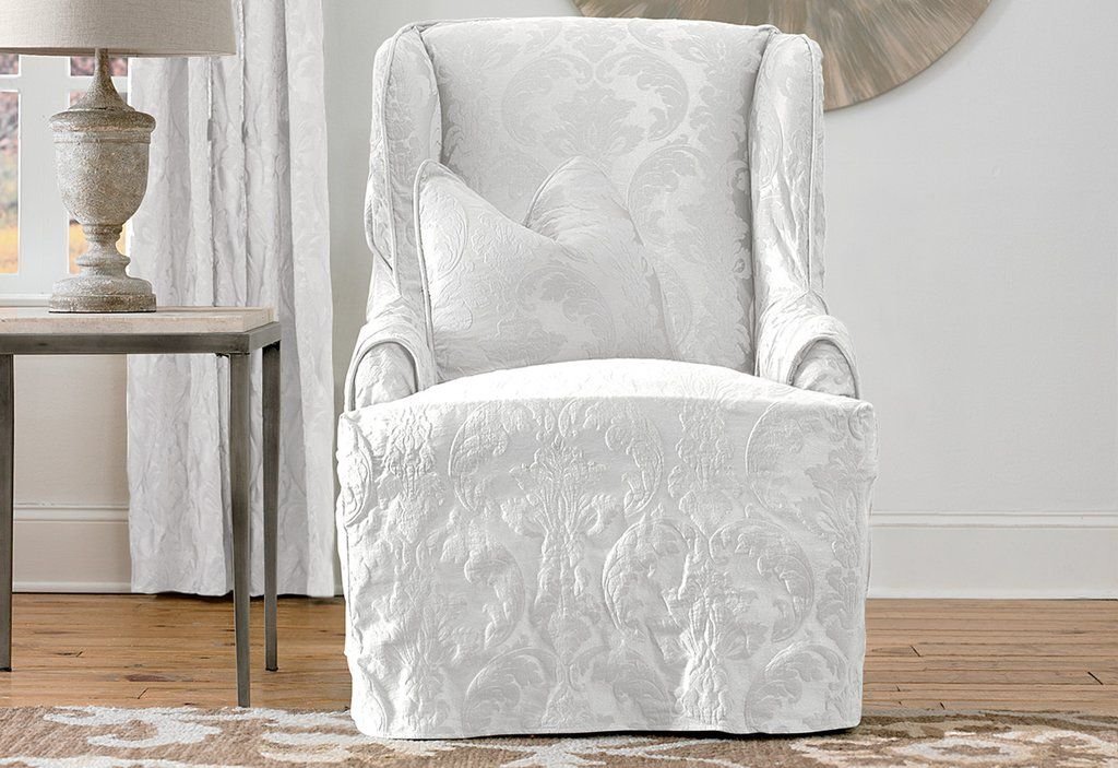 Matelasse damask one piece wing chair slipcover t