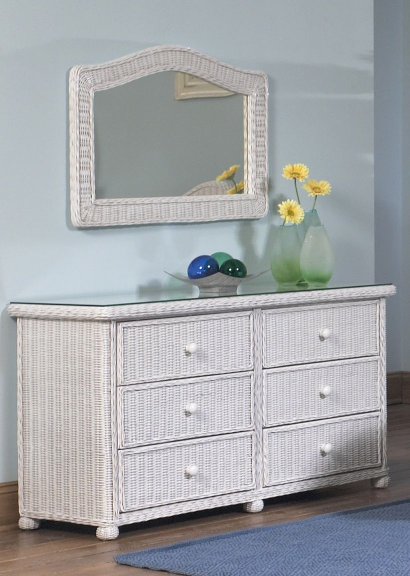 Wicker 6 Drawer Dresser Elana Wicker Paradise Wicker Bedroom Furniture White Wicker Bedroom Wicker Patio Furniture