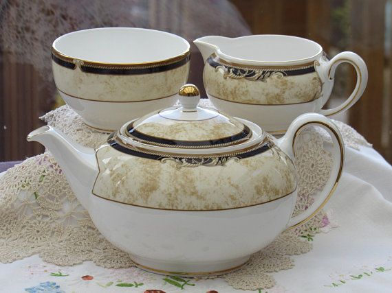 Wedgwood Cornucopia Teapot With Matching Sugar Bowl And Milk Jug
