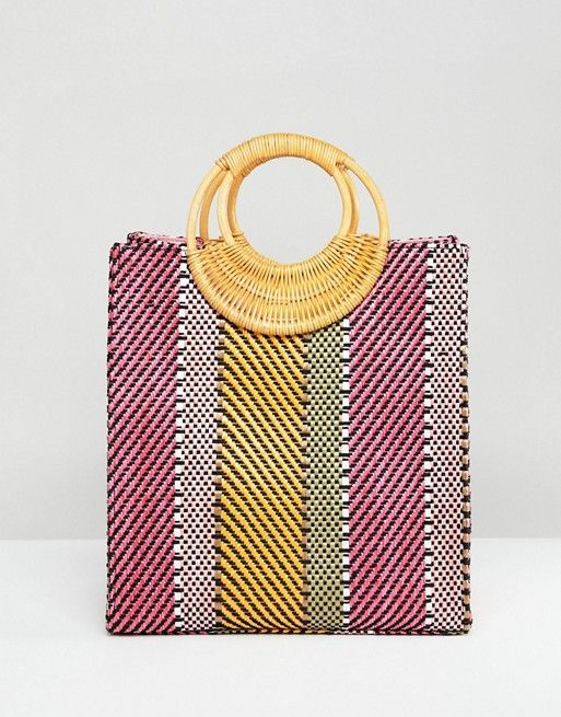 03de4abd5c DESIGN stripe straw mini shopper bag with bamboo handle