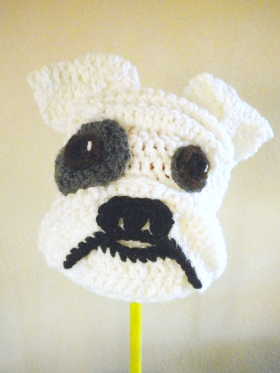 Crochet Bulldog Hat White Dog Beanie with Floppy by bitteroclock ...