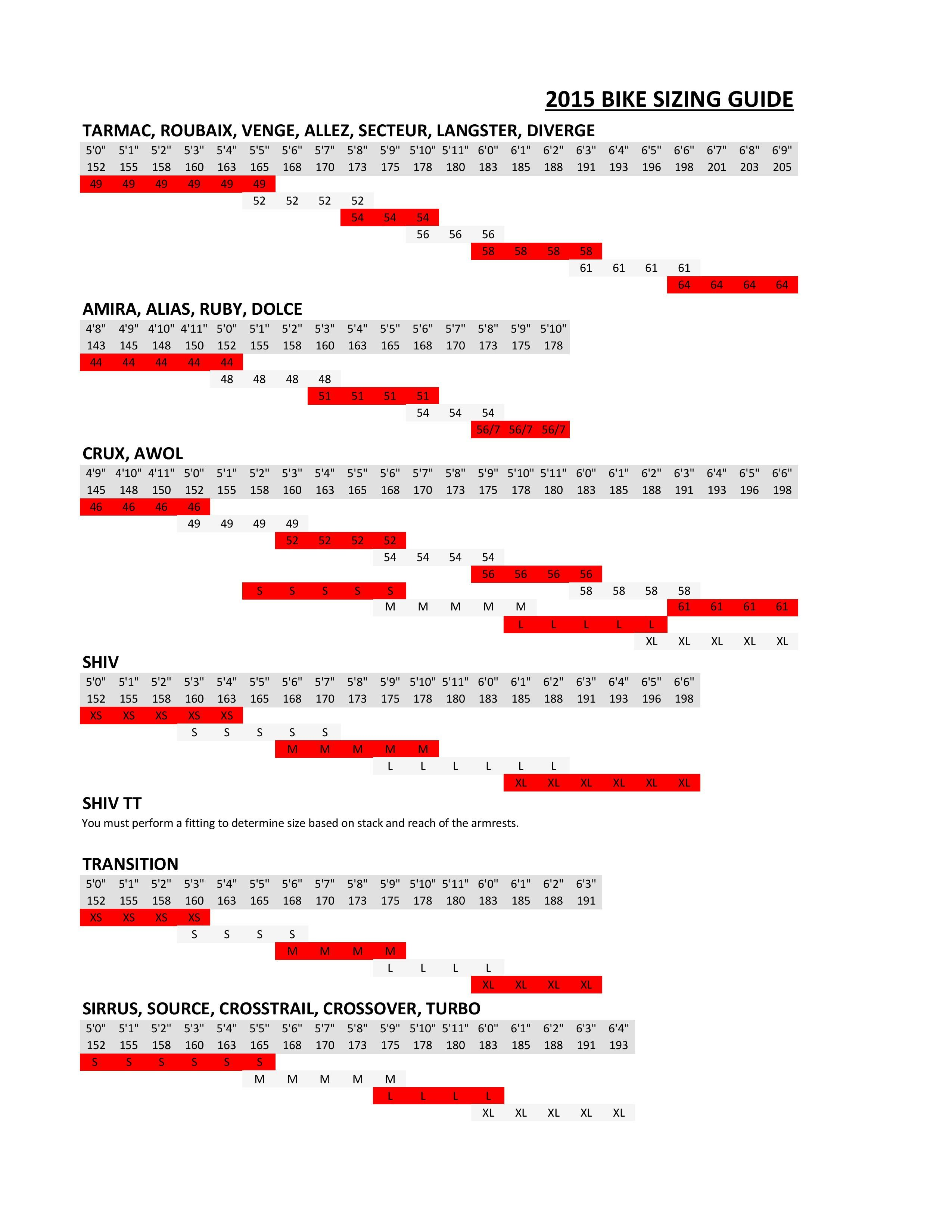 Best Of Specialized Bike Sizing Chart 2015