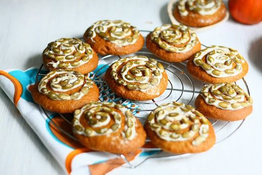 Pumpkin Maple Cookies with Quark Frosting