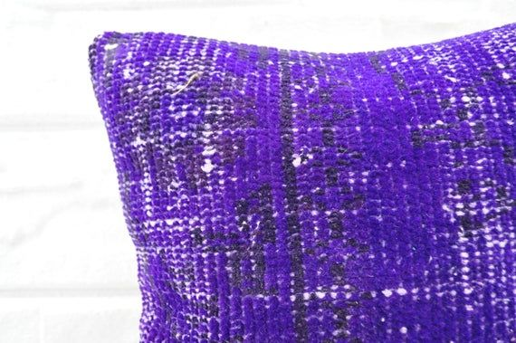 Turkish carpet pillow purple color   Decorative carpet pillow   14x14 Home decor  carpet,cover pillo
