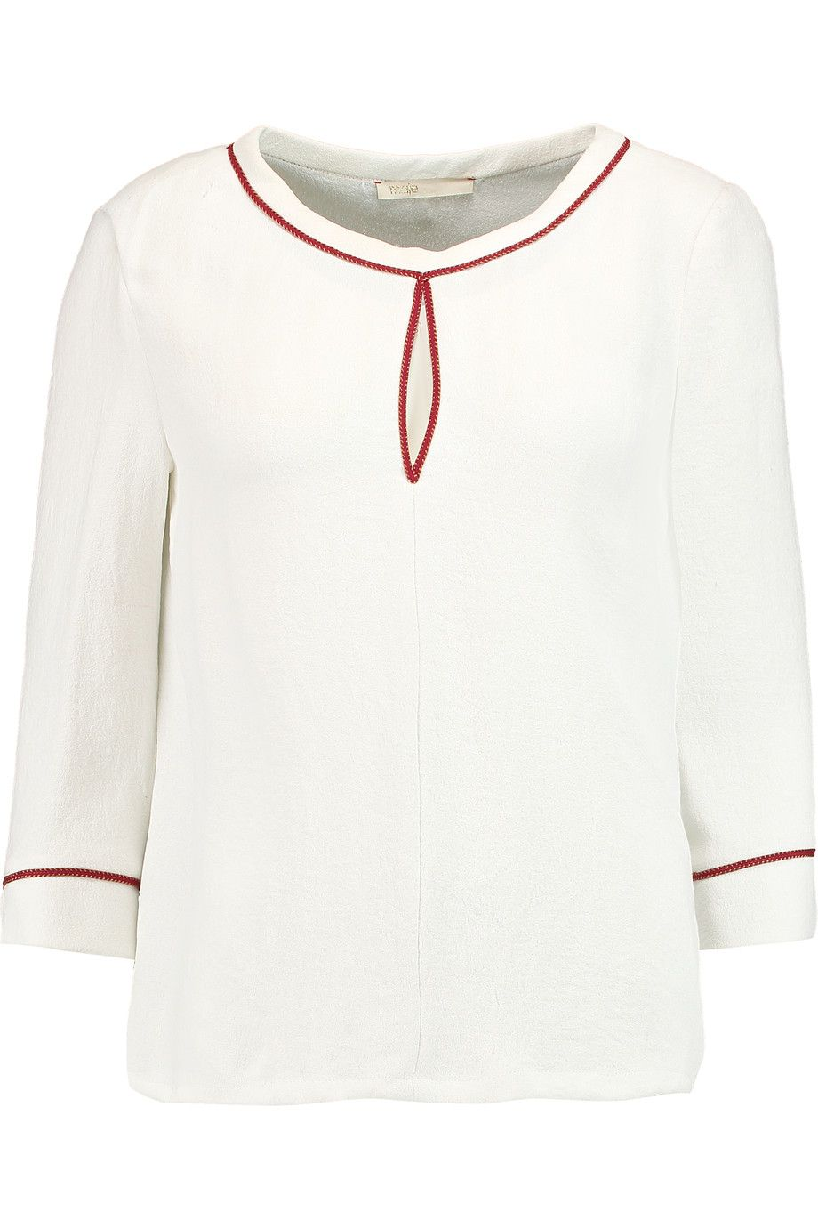 MAJE Lamia Embroidered Crepe Top. #maje #cloth #top