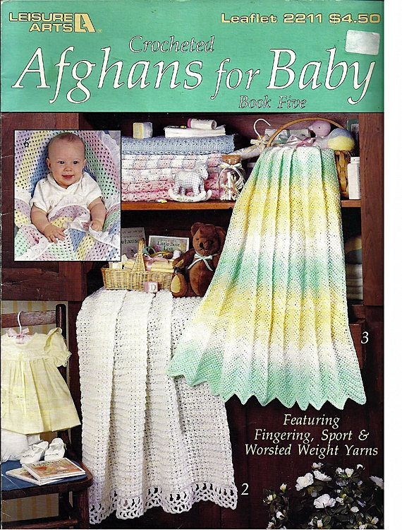 Crocheted Afghans For Baby Book Five Crochet Pattern Book Leisure