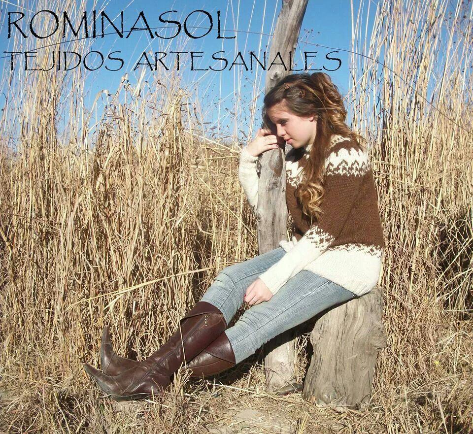 """Ropa para mujeres - SWETER tejido en lana de llama -   hecho a mano - handmane """" ROMINASOL """""""