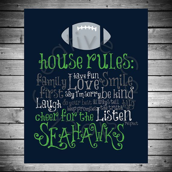 seattle seahawks house rules 8x10 instant digital copy - Seattle Home Decor