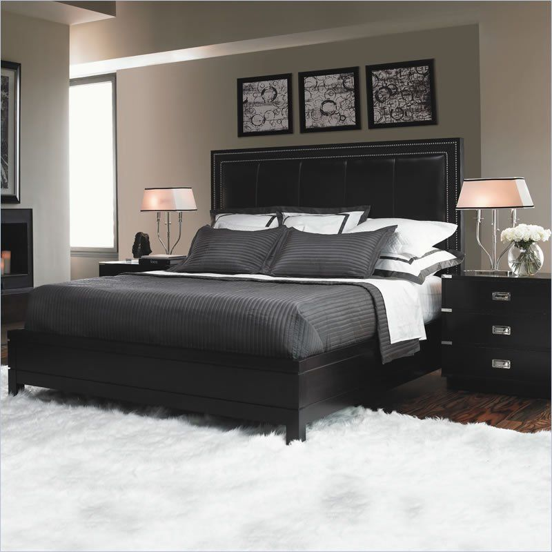 Lexington Black Ice Graphite 4 Piece Bedroom Set In Carbon