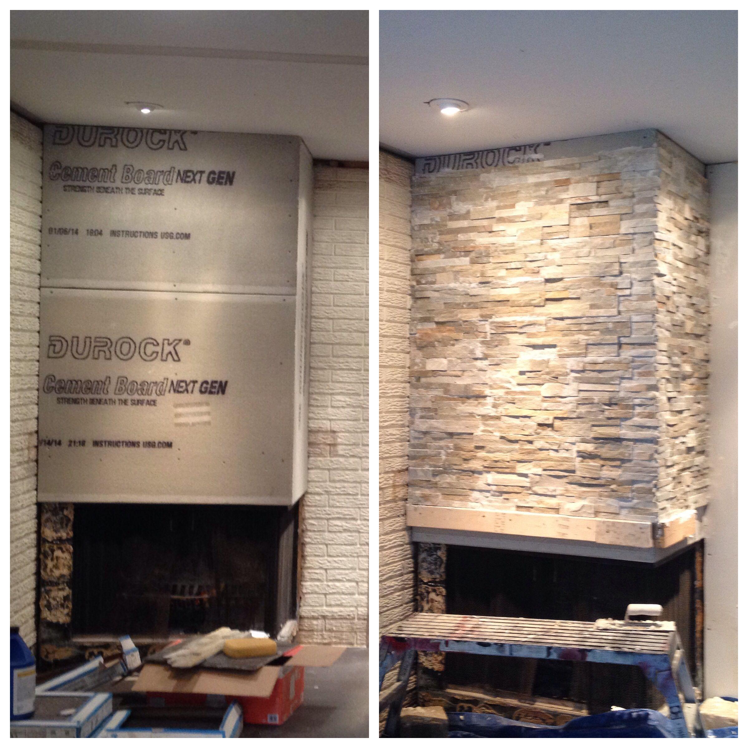 Golden Honey Ledger Stone #Fireplace #Familyroom #Diy