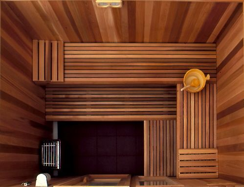 Sauna donker hout (thermo wood?)