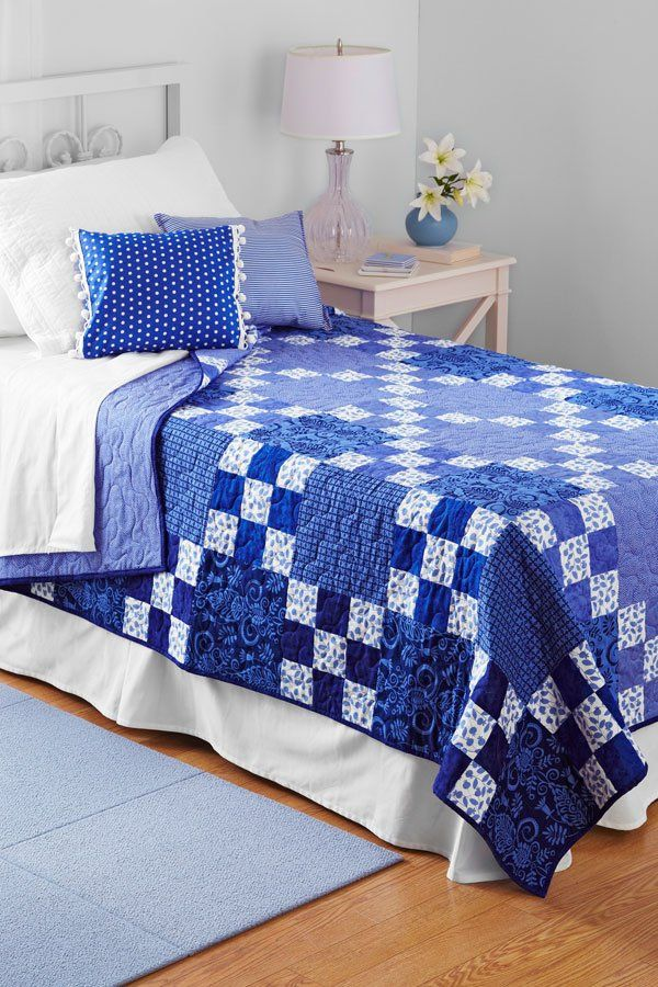 Rhapsody in Blue Bed quilt patterns, Blue quilts, Two