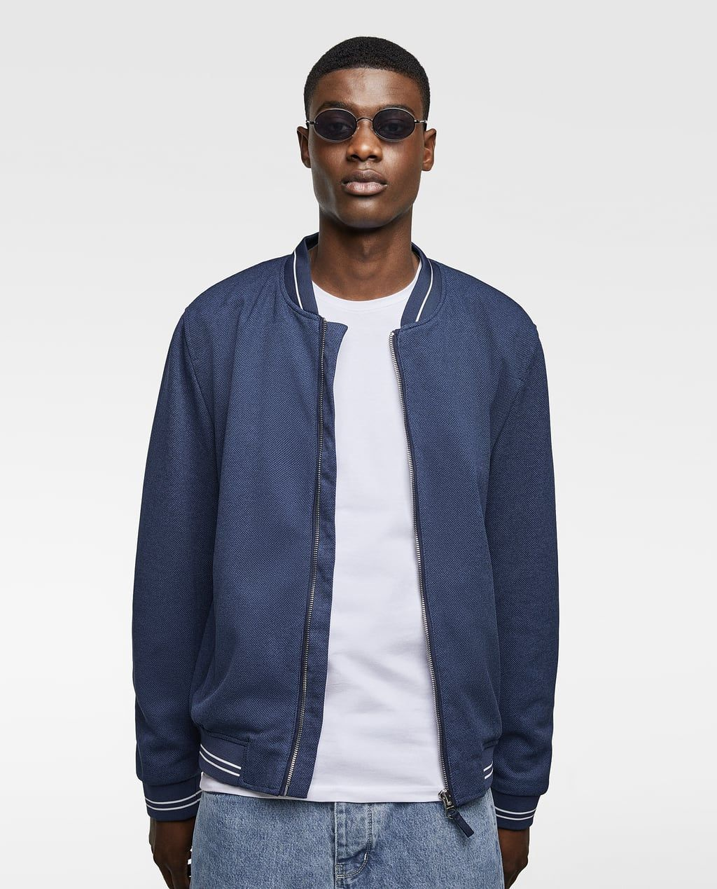Image 2 Of Pique Bomber Jacket With Trims From Zara Jacken Bomberjacke