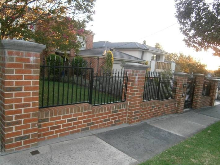 Brick fence brick fence pinterest for Brick and wrought iron fence designs