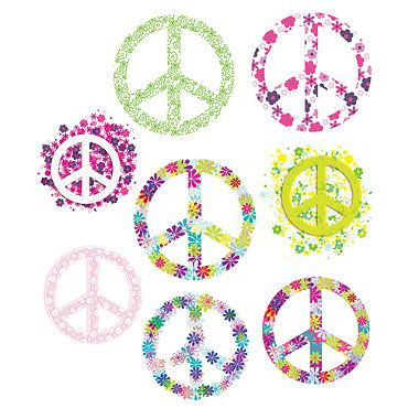 Flowered Peace Signs Vinyl Wall Decal Set From Bed Bath Beyond - Vinyl wall decals bed bath and beyond
