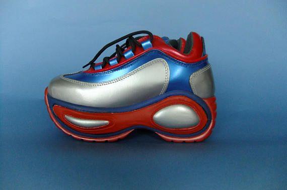 seltene original Raver Schuhe aus den 90ern, metallic Leder