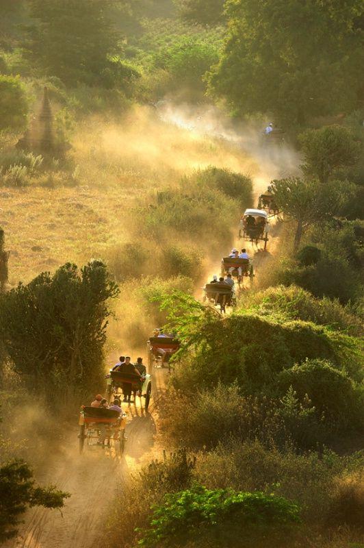 Horse drawn carriages through Bagan