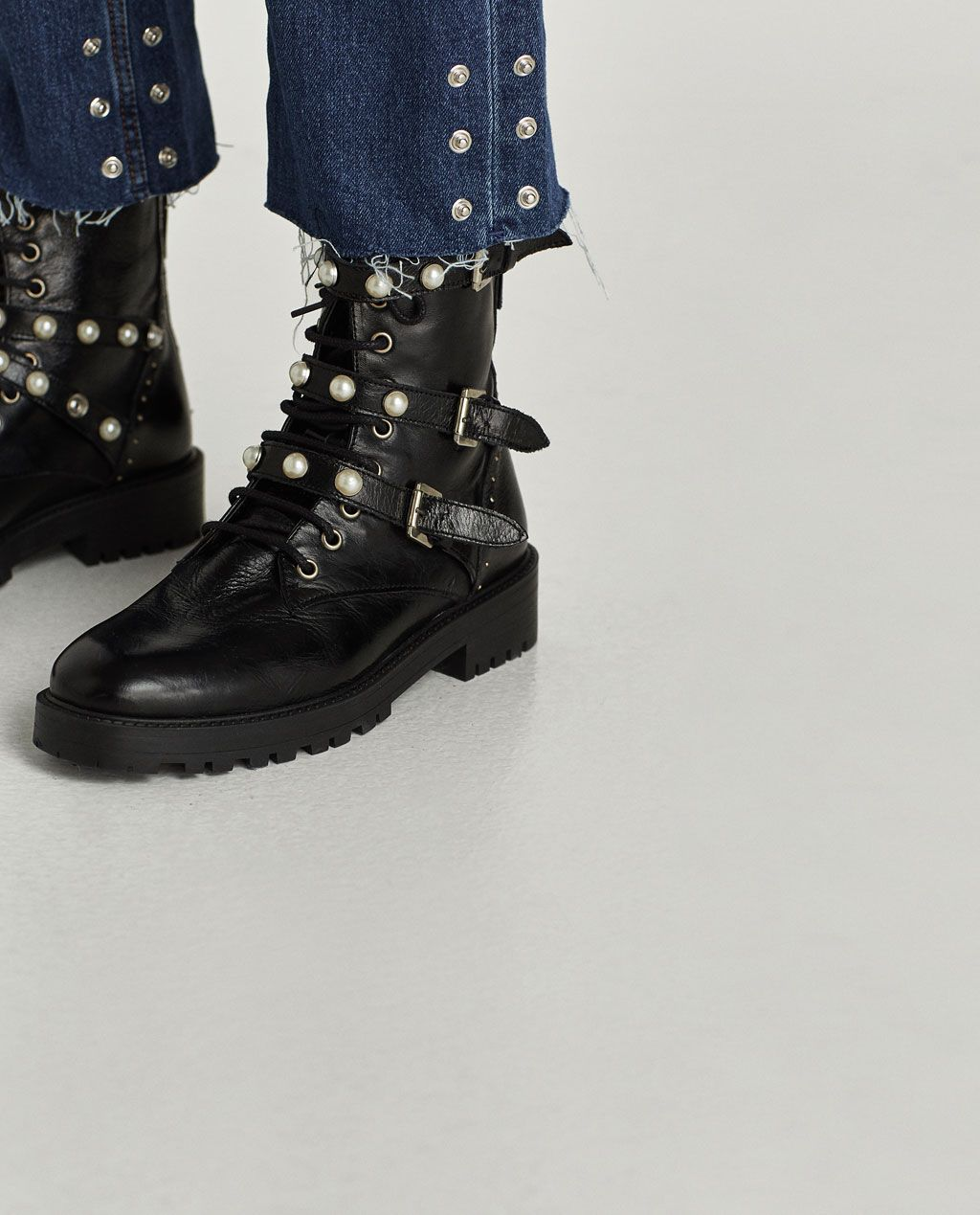 20d68a8314f Image 4 of LEATHER ANKLE BOOTS WITH FAUX PEARLS from Zara