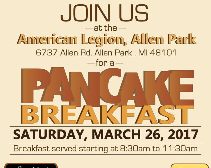 pancake breakfast event flyer all you can eat benefit flyer