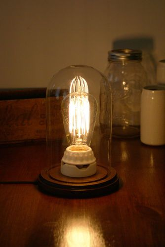 Bell Jar, Cloche, Glass Dome - Rustic Lamp - Vintage Edison Light