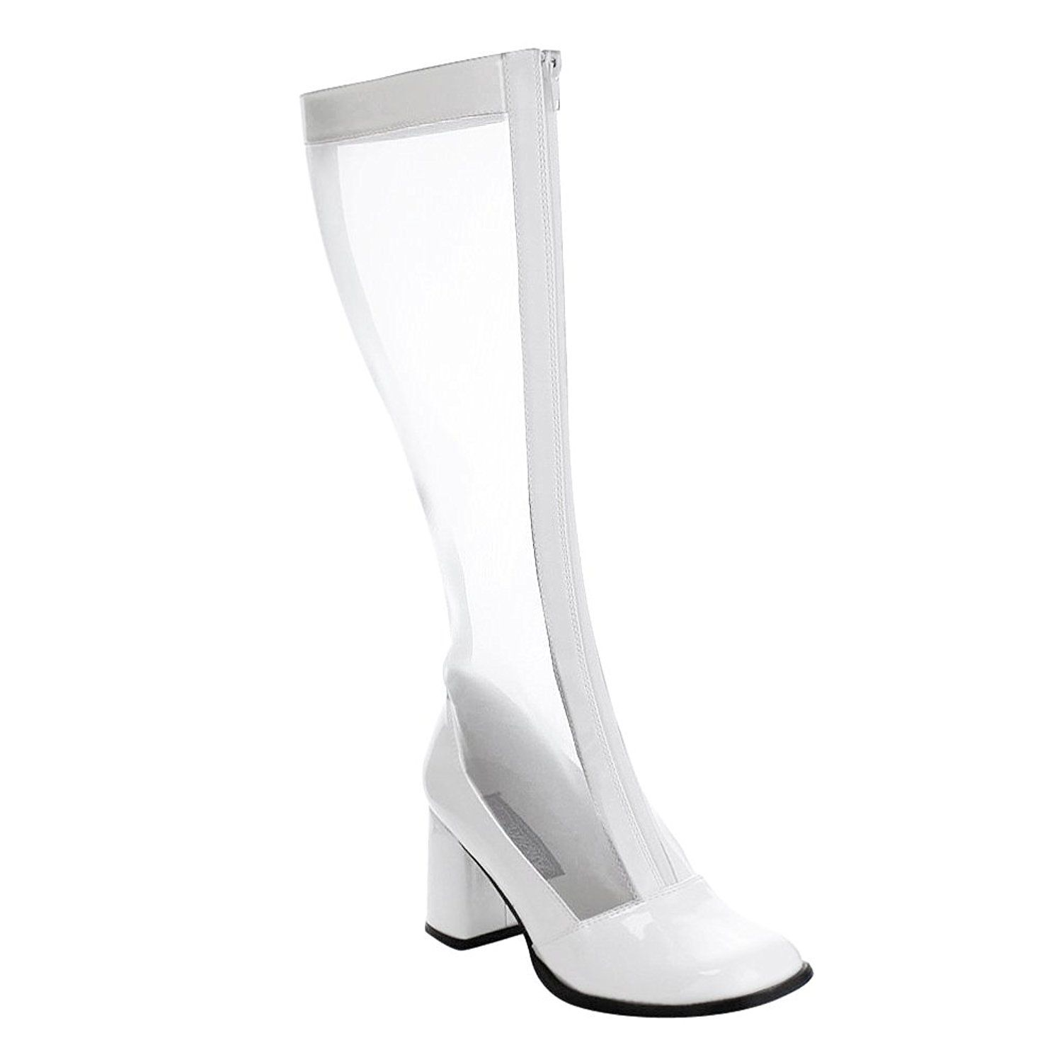 e98dbcb550931 Womens White Knee High Boots Mesh Go Go Boots Zipper Stretch Block 3 ...