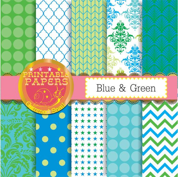 Blue and green digital paper, green blue backgrounds, printable patterns x 10 #etsymntt #digitalpaper
