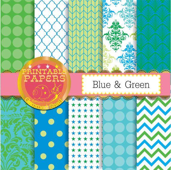 Blue and green digital paper, green blue backgrounds, printable patterns x 10 #etsymntt #digitalpaper
