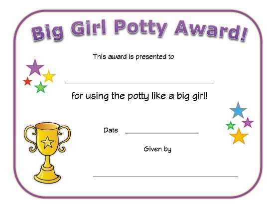 big girl potty award certificate Preschool Awards Pinterest - award of excellence certificate template