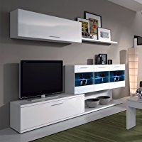 Mueble de salon comedor con Leds ,acabado blanco brillo | Centro de ...