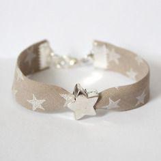 Bracelet liberty enfant fille - taille 4/7 ans - taupe étoiles argentée - étoile