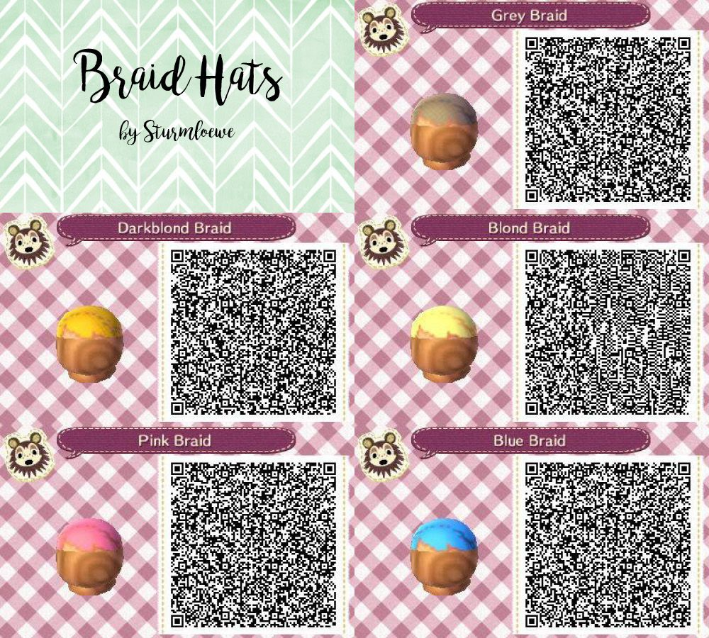 Animal Crossing New Leaf Qr Code Cute Braided Hair Braid Hat