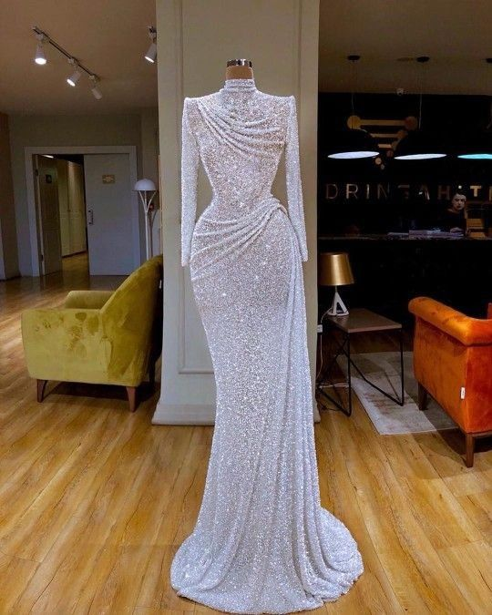 White Sequin Pageant Dress Evening Gown