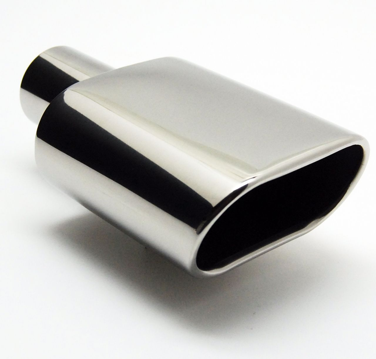 "2.25/"" OUTLET 9/"" LONG TURN DOWN 2.25/"" INLET POLISHED STAINLESS EXHAUST TIPS"
