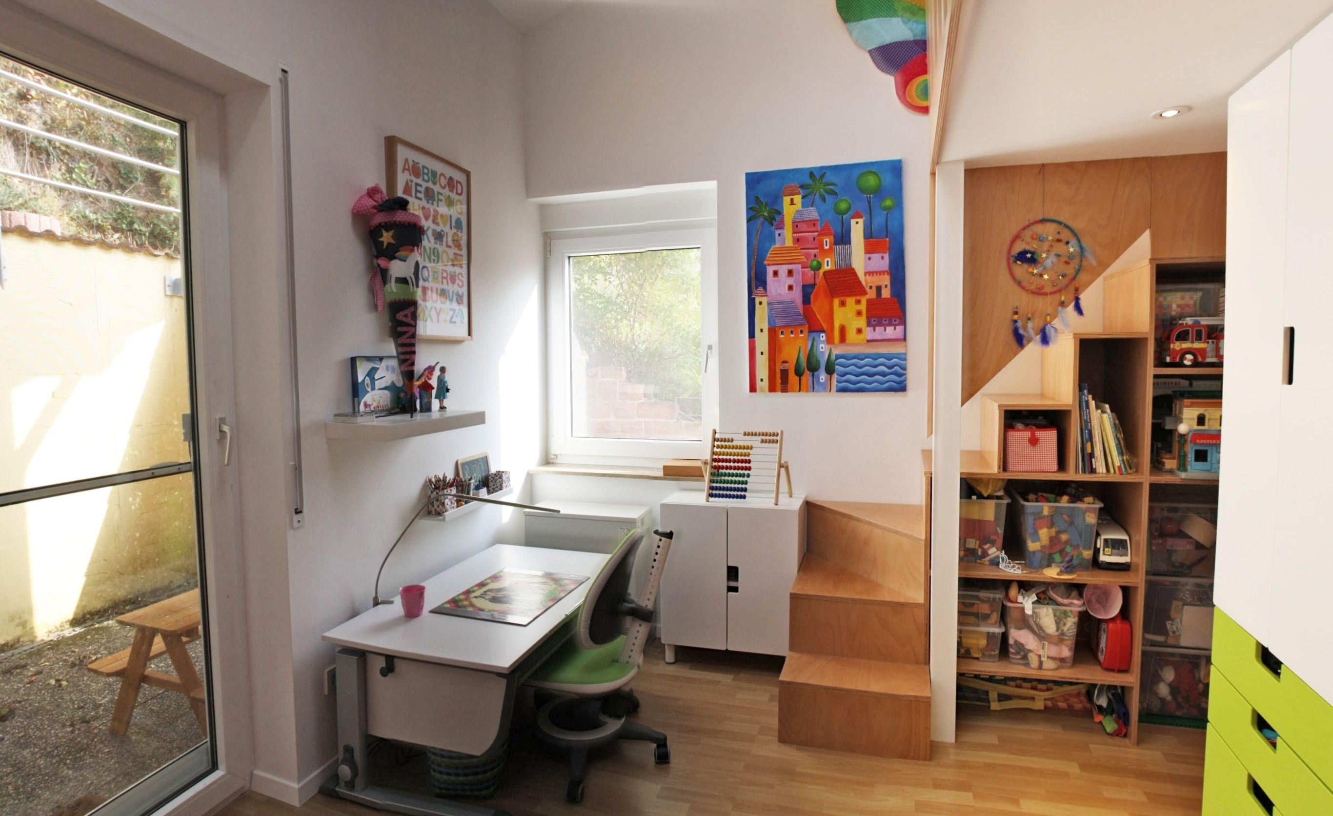 Umbau Kinderzimmer, Einbau 2. Ebene, Treppe, Regal, Ikea Stuva, Schreibtisch