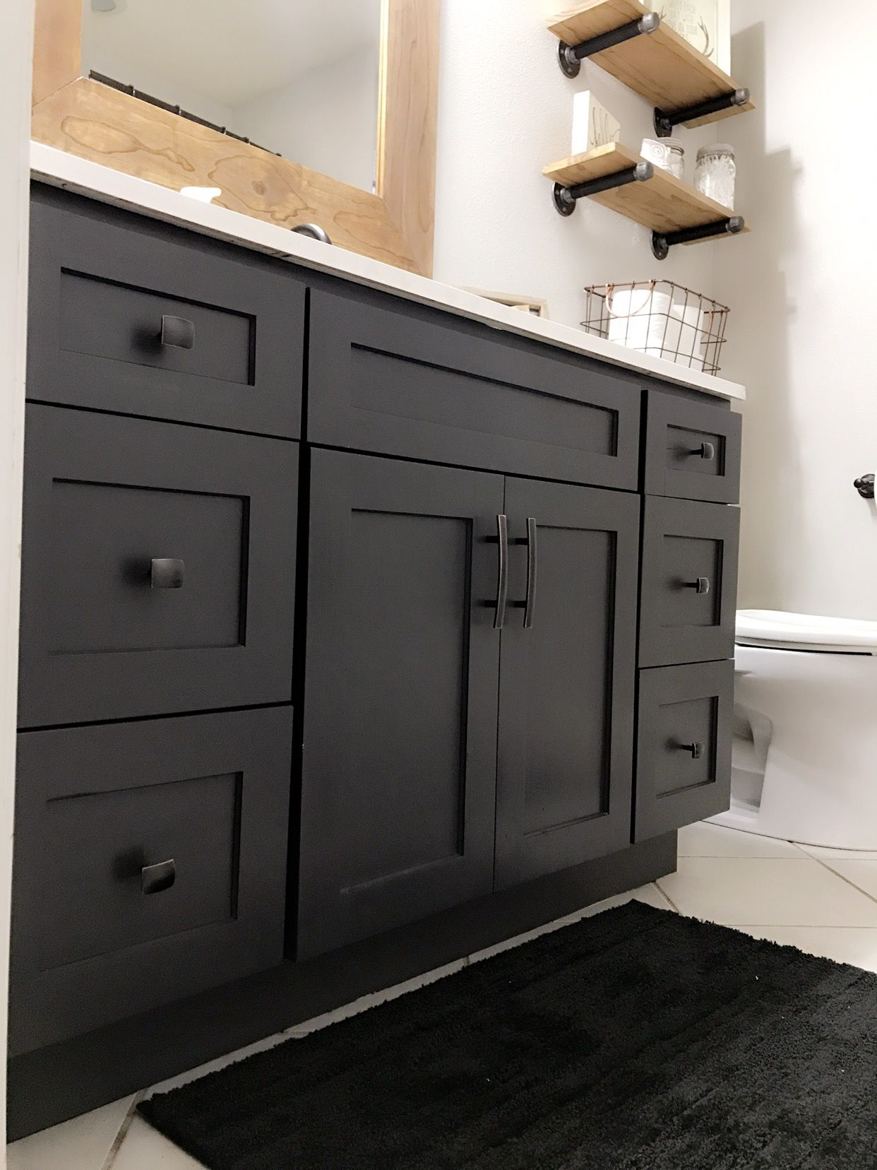 Vanity Painted With Fusion Ash Chalk Paint Farmhousestyle Painted Vanity Bathroom Black Vanity Bathroom Painted Vanity [ 1656 x 1242 Pixel ]