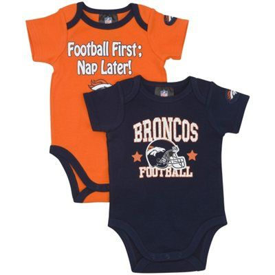 Gerber Denver Broncos Infant 2-Pack Bodysuit Onesie Set - Navy Blue Orange 4f189a64b