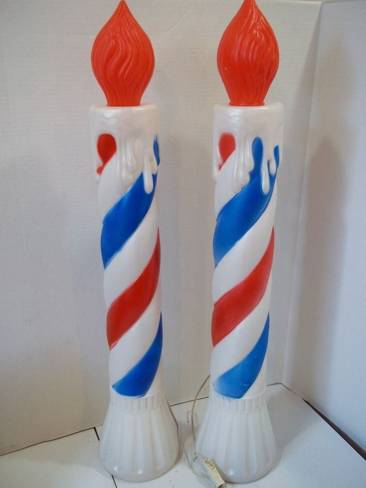 Vintage Christmas Union Red White Blue Candles Blow Mold Plastic