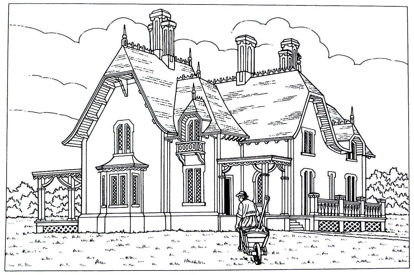 Victorian House printable coloring book page. Style is a