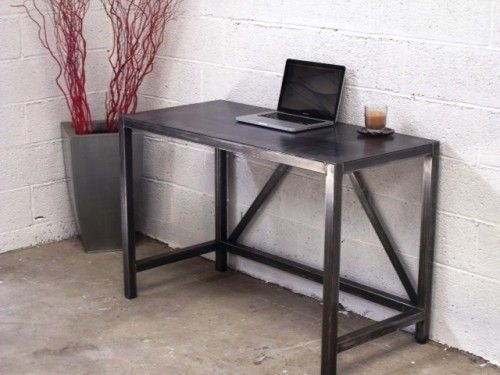 Table bureau m tal sur mesure meubles loft bureau metal - Table de travail bureau ...